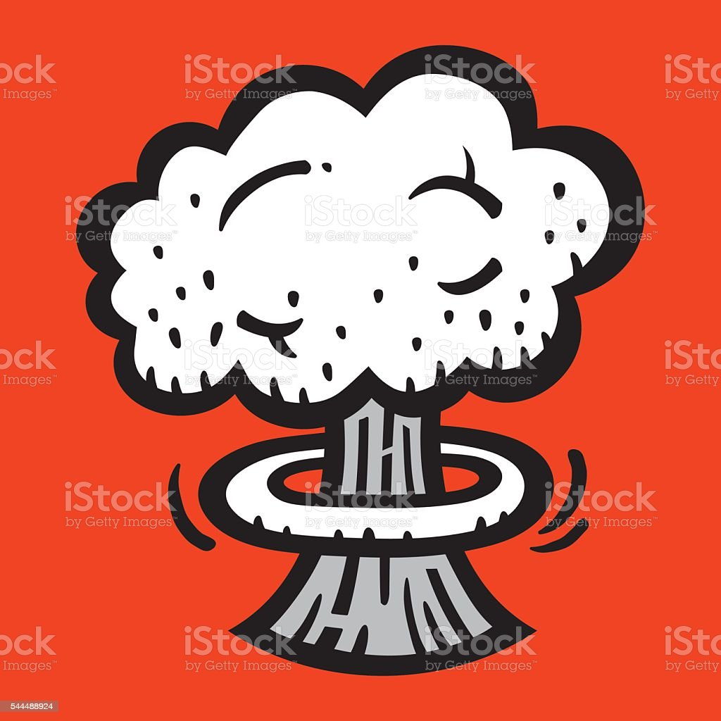 Mushroom Cloud Atomic Nuclear Bomb Explosion Fallout vector icon vector art illustration
