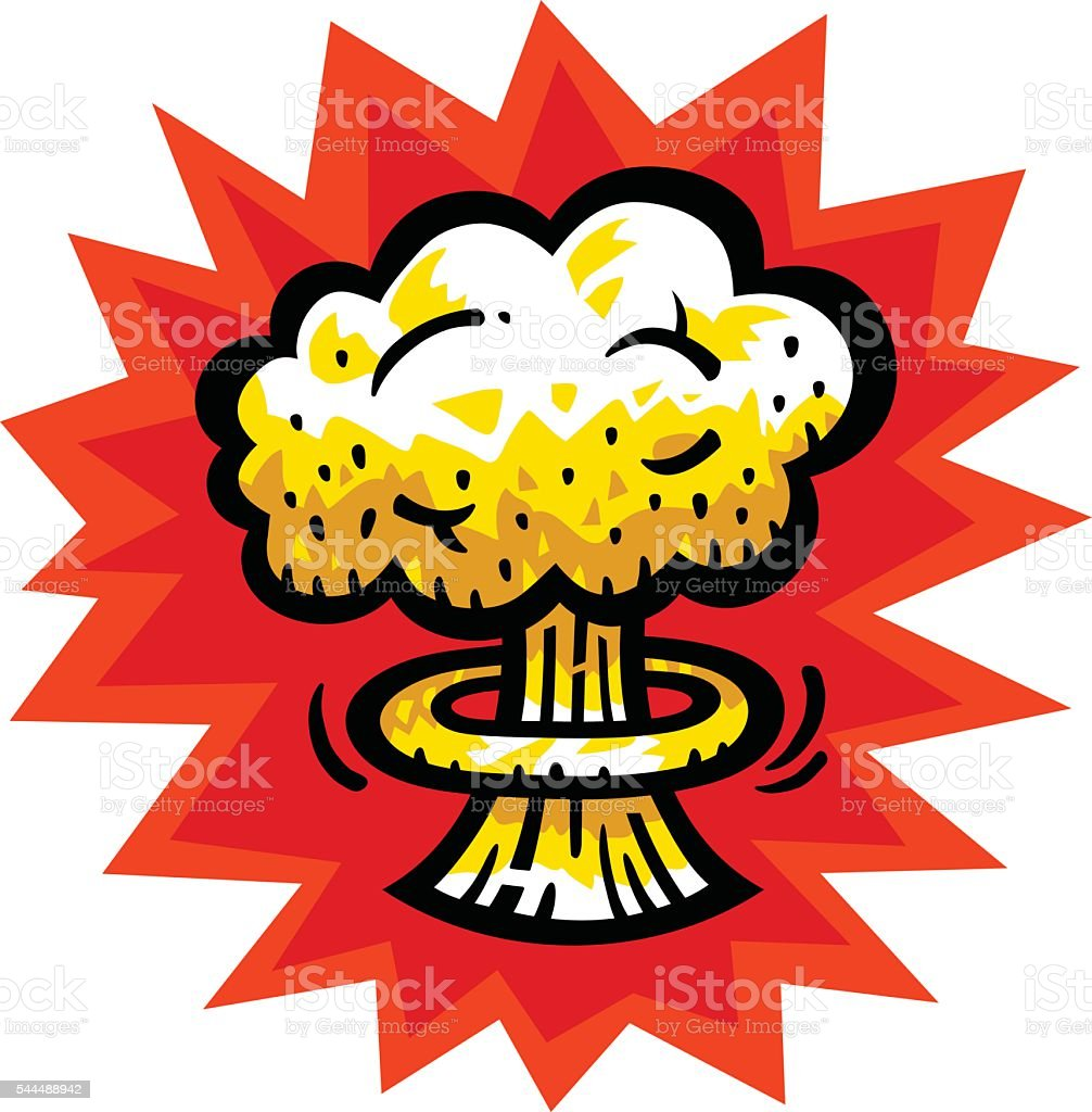 Mushroom Cloud Atomic Nuclear Bomb Explosion Fallout Vector Icon ...