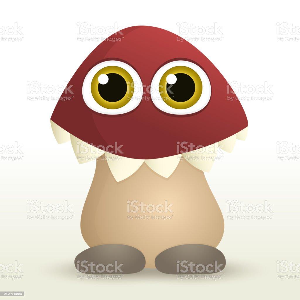 Mushroom monster vector art illustration