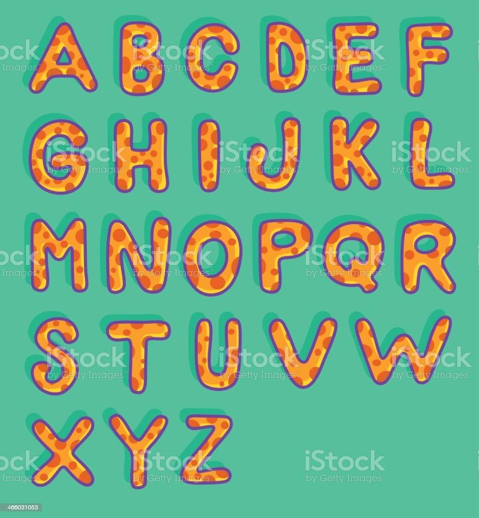 Mushroom Style Alphabet - Typography - Hand Drawn Alphabet royalty-free stock vector art