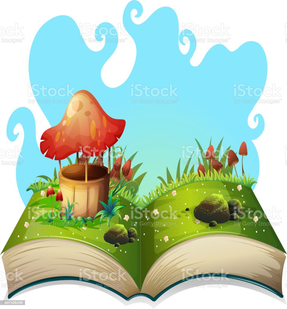 Mushroom well in the park vector art illustration