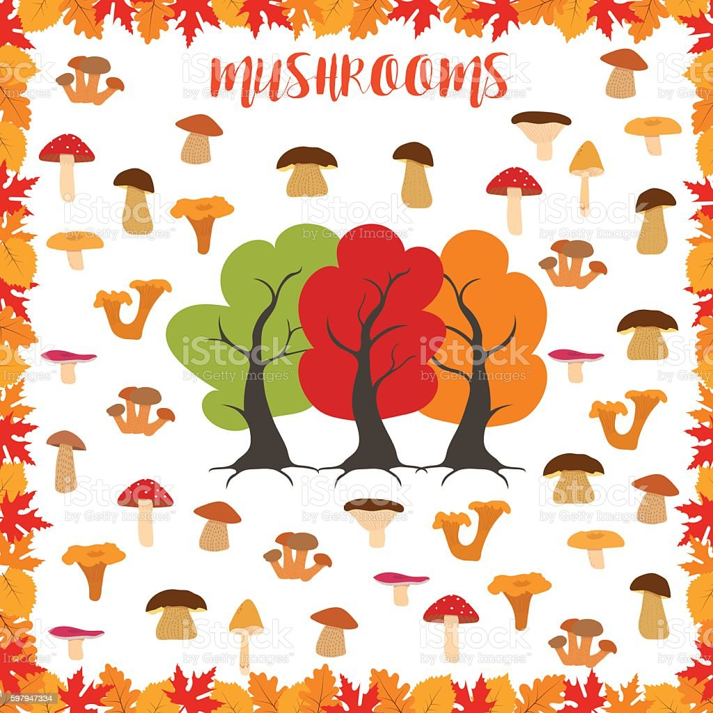 Mushrooms, autumn pattern, frame made of leaves. Vector illustration. vector art illustration