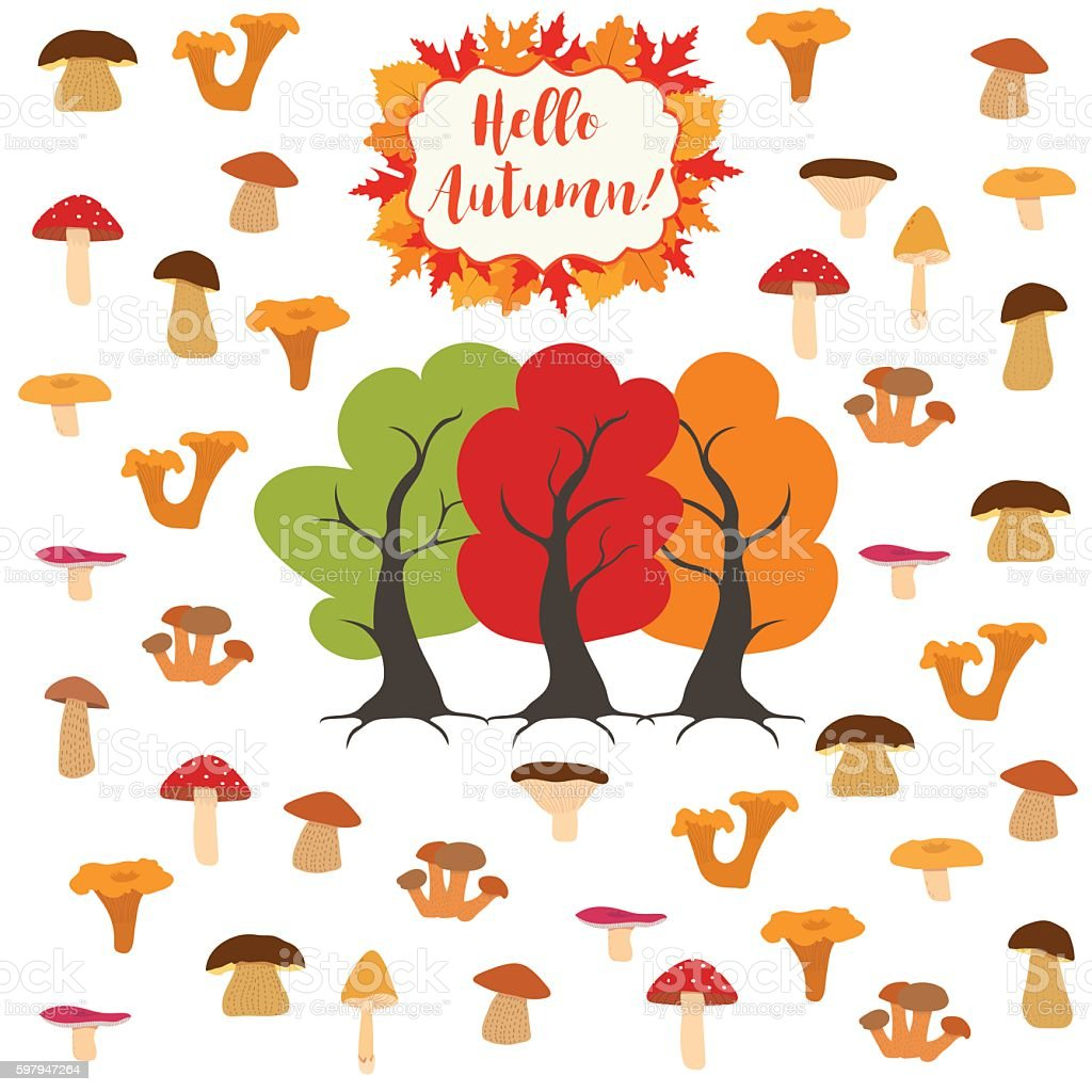 Mushrooms, autumn pattern vector art illustration