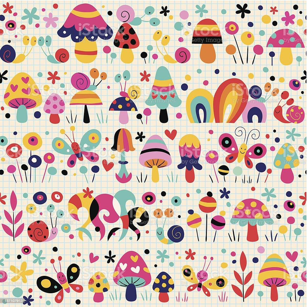 mushrooms, butterflies & snails pattern royalty-free stock vector art