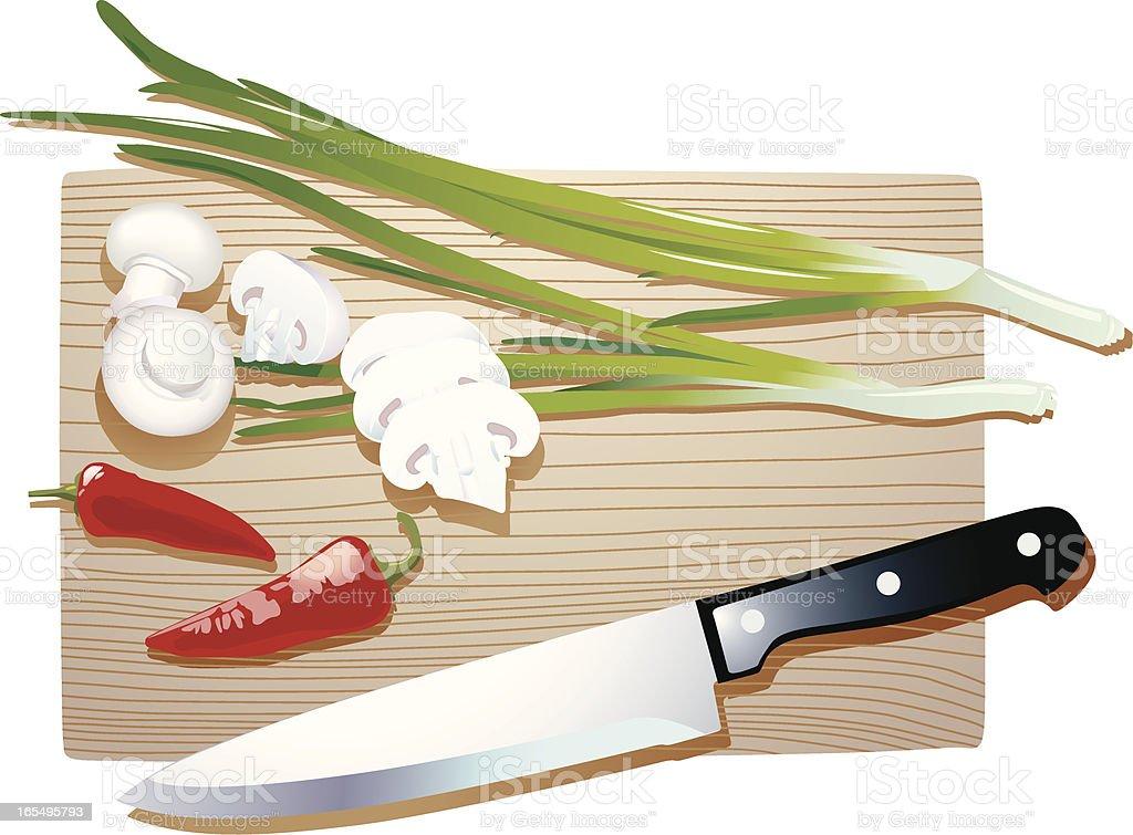 Mushrooms, onions and pepper vector art illustration