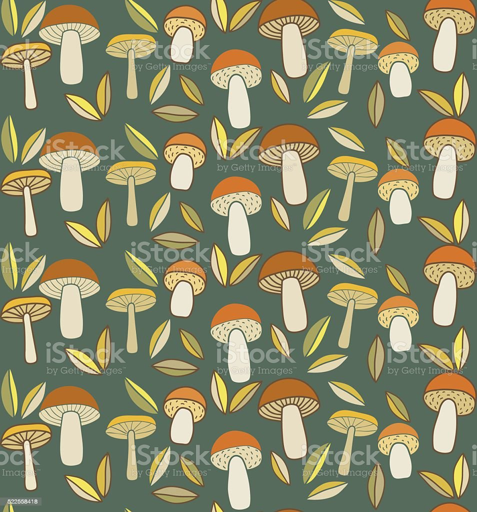 mushrooms pattern vector art illustration