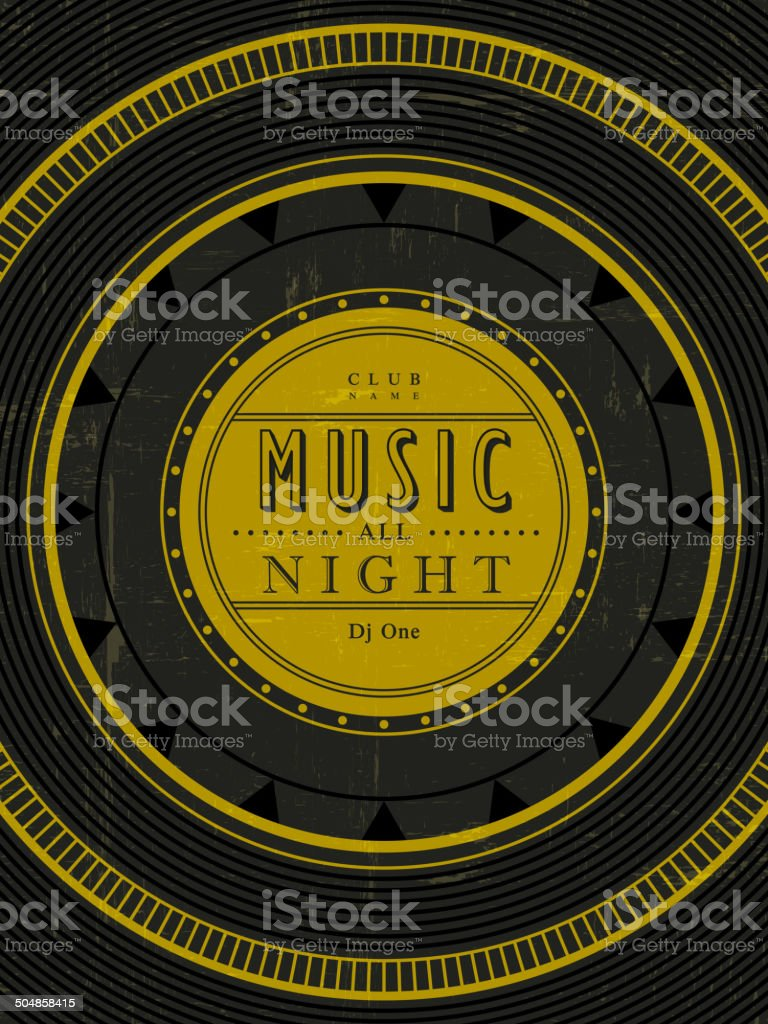 music all night poster vector art illustration