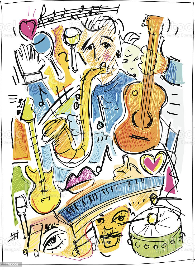 music and art royalty-free stock vector art