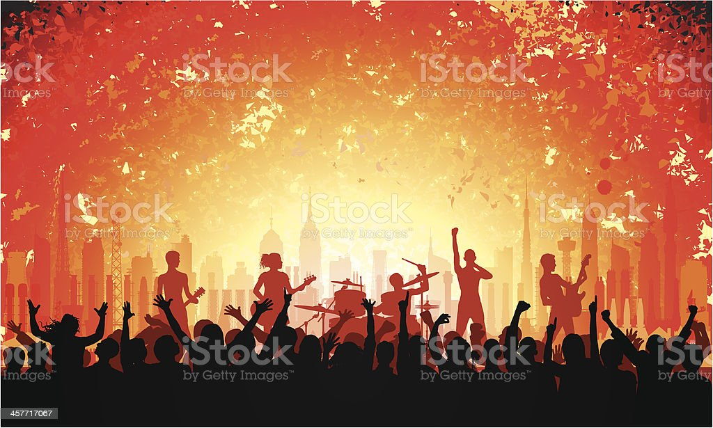 Music and City vector art illustration
