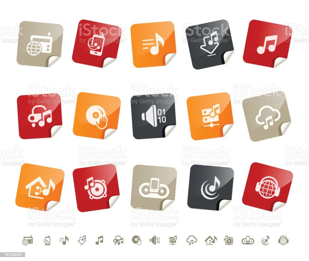 Music and Device icons | sticky series vector art illustration