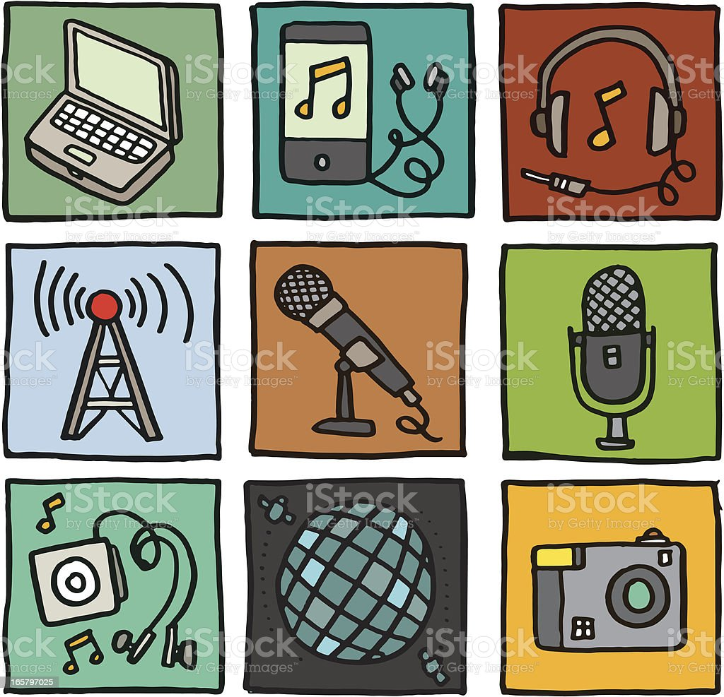 Music and media icon set royalty-free stock vector art