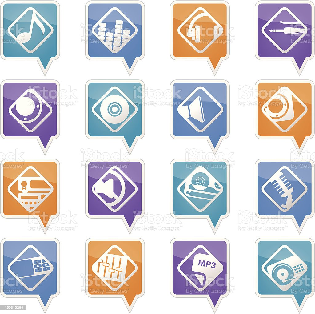 Music and sound icons royalty-free stock photo