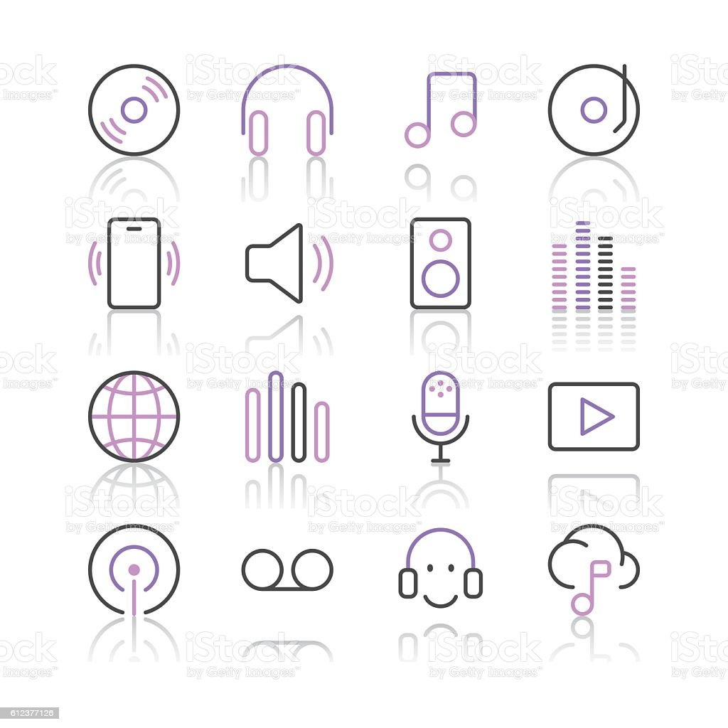 Music and Sounds Icons set 1 | Purple Line series vector art illustration