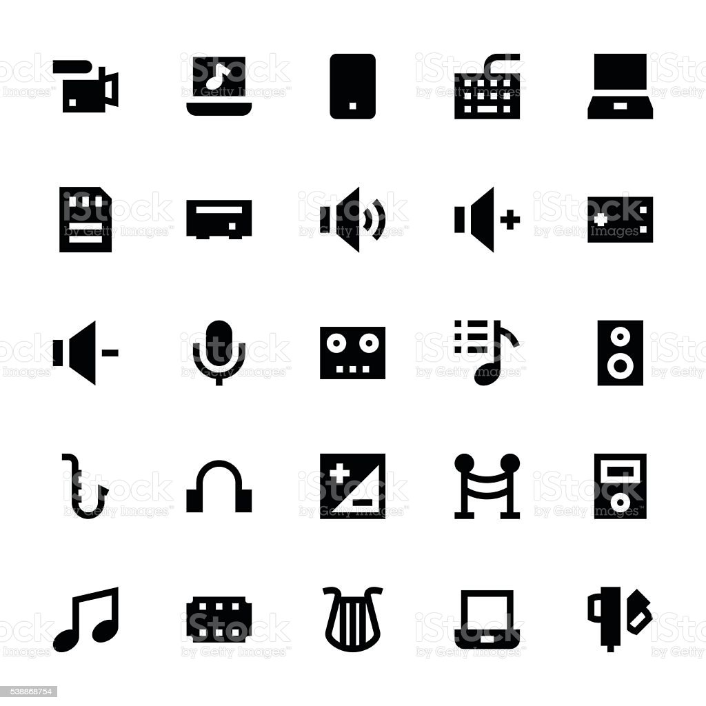 Music, Audio, Video, Cinema and Multimedia Vector Icons 3 vector art illustration
