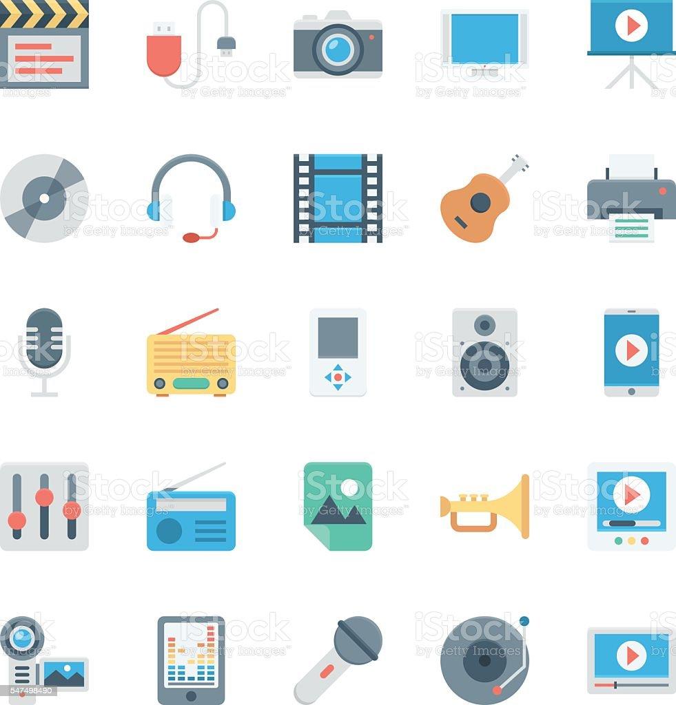 Music, Audio, Video, Cinema, Multimedia Vector Icons 1 vector art illustration