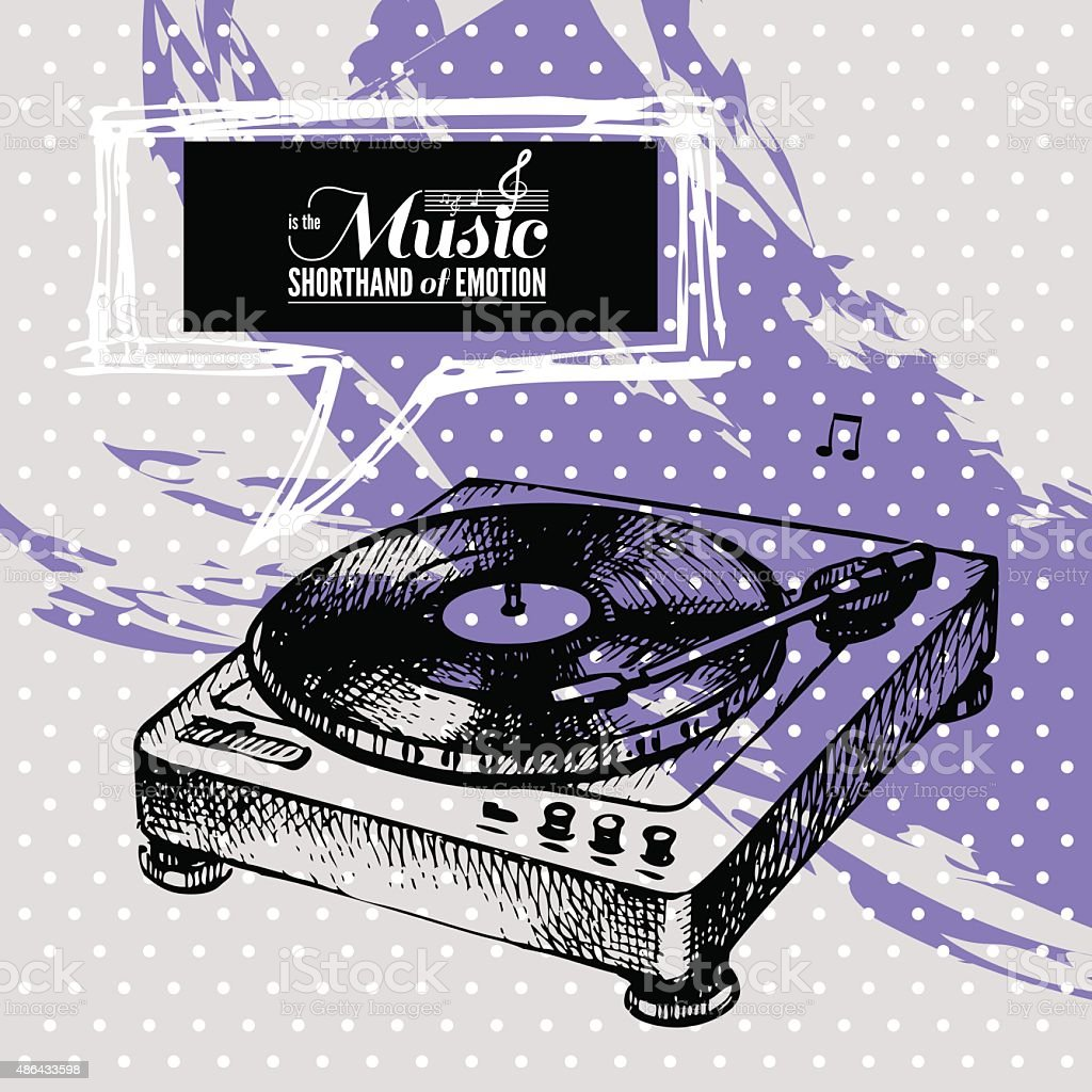 Music background. Hand drawn illustration and typography design vector art illustration