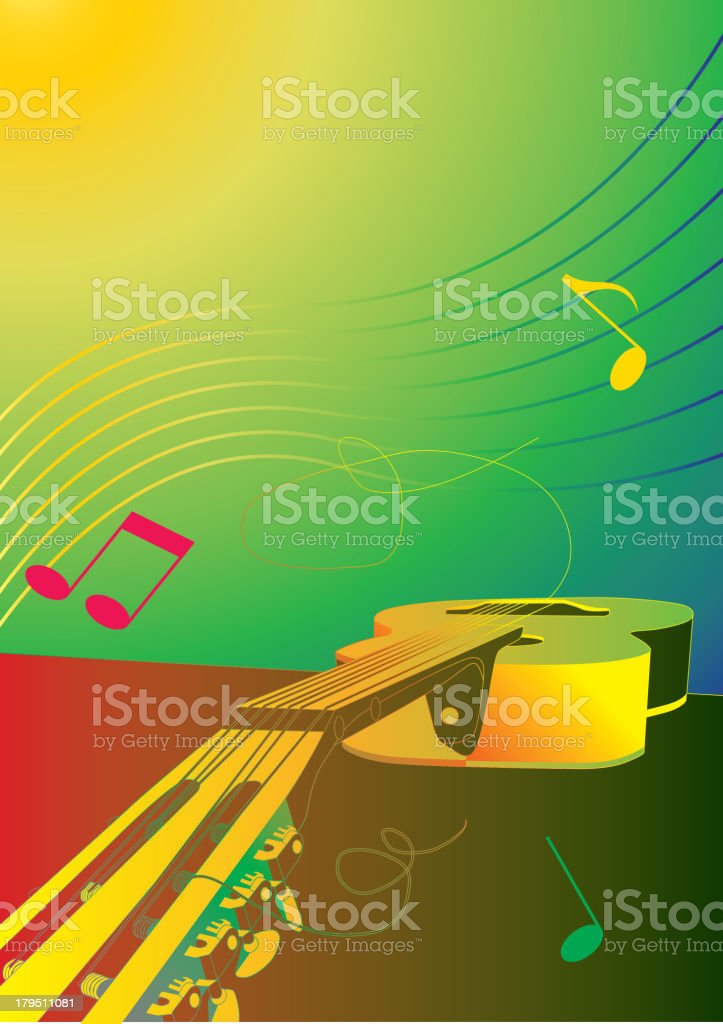 music background or poster with guitar royalty-free stock vector art