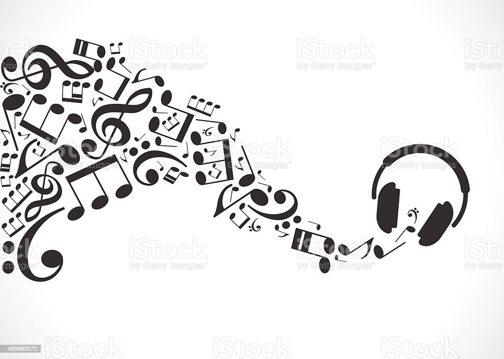 Music background with headphones and musical notes vector art illustration