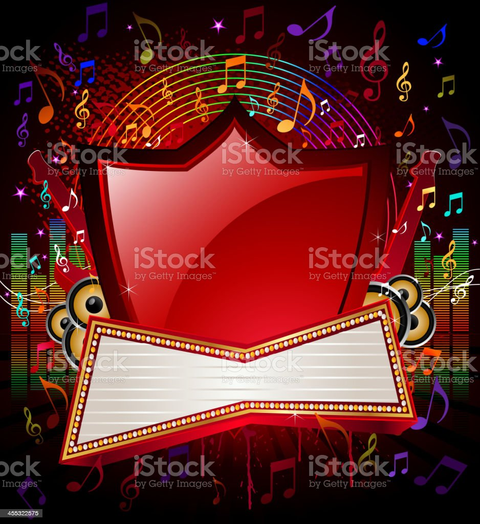 Music Background with Marquee Display royalty-free stock vector art