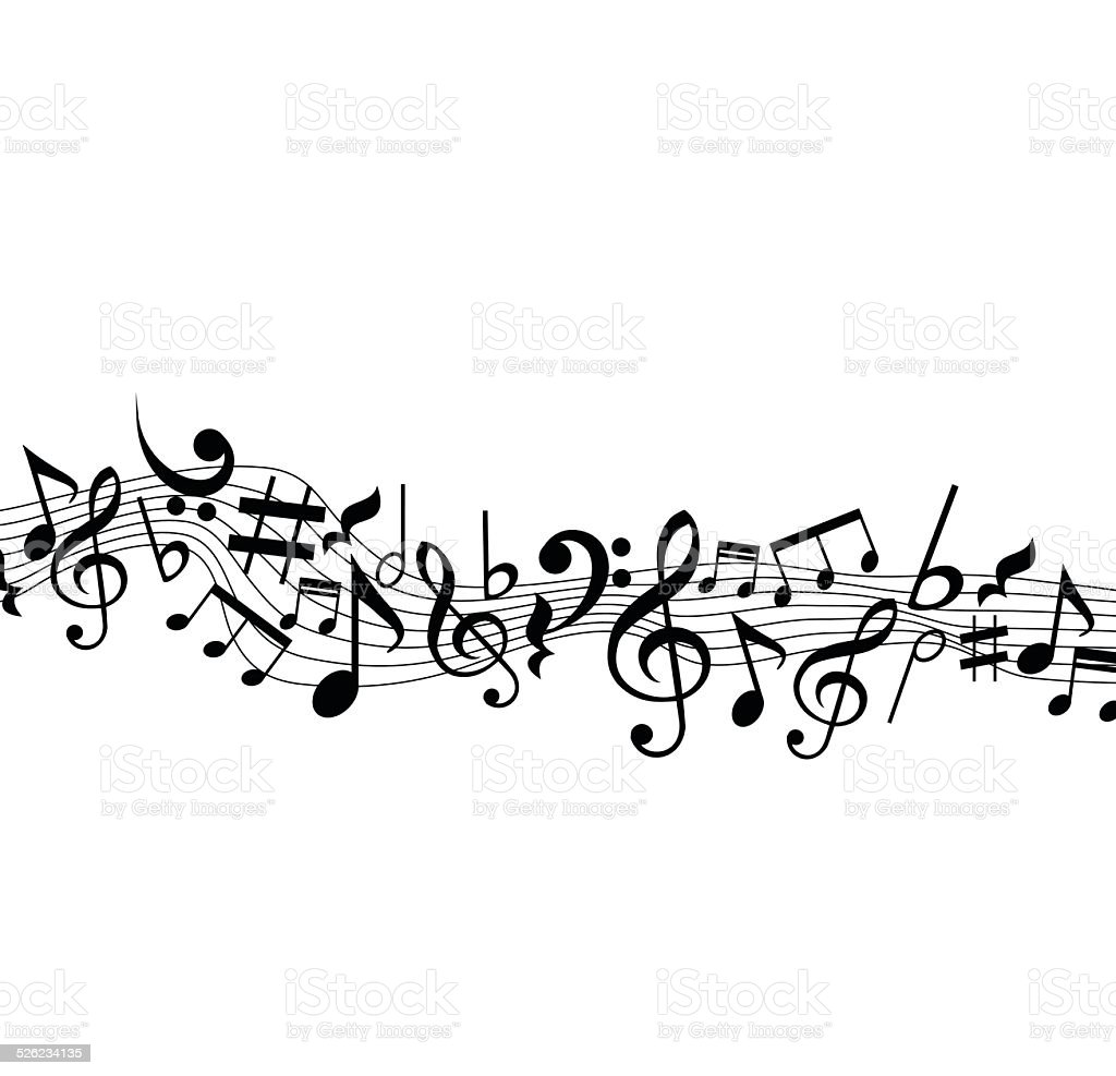 Music background with notes on the stave vector vector art illustration