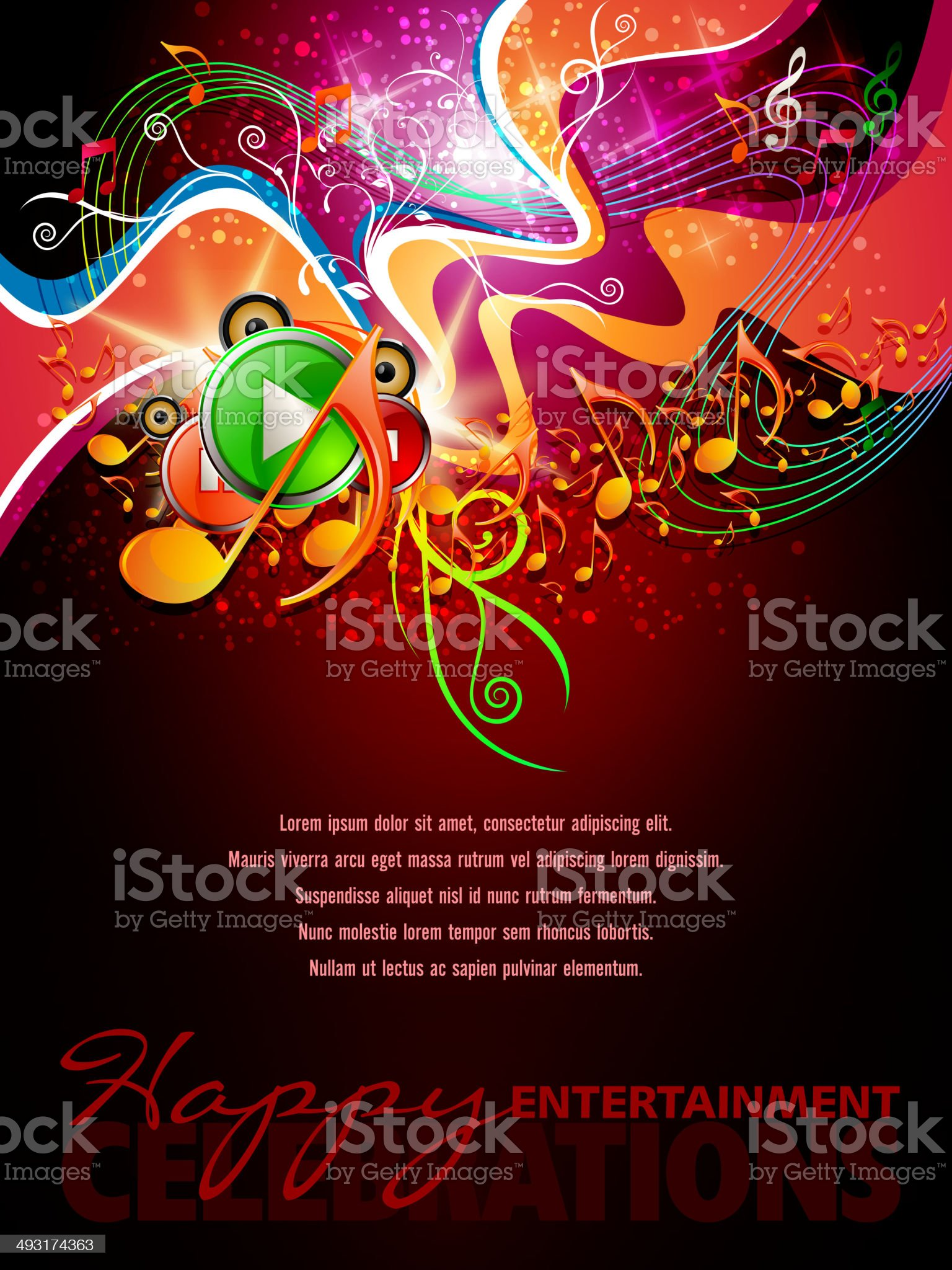 Music Background with Swirls and Button royalty-free stock vector art