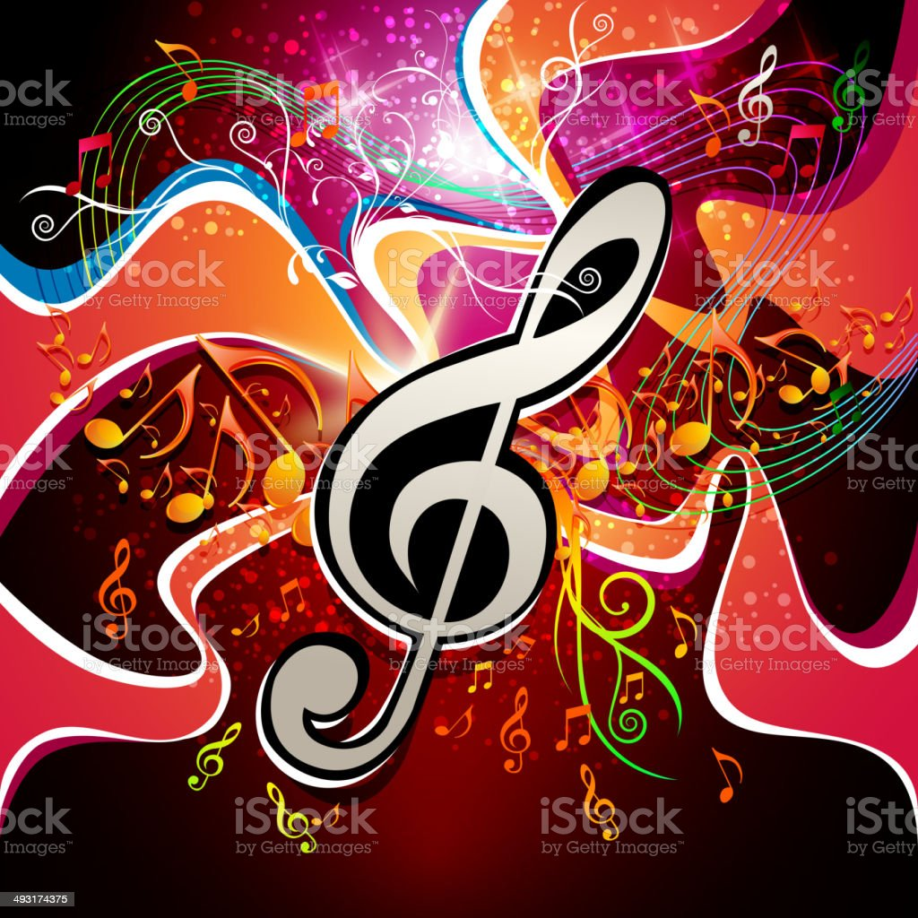 Music Background with Swirls and Note royalty-free stock vector art