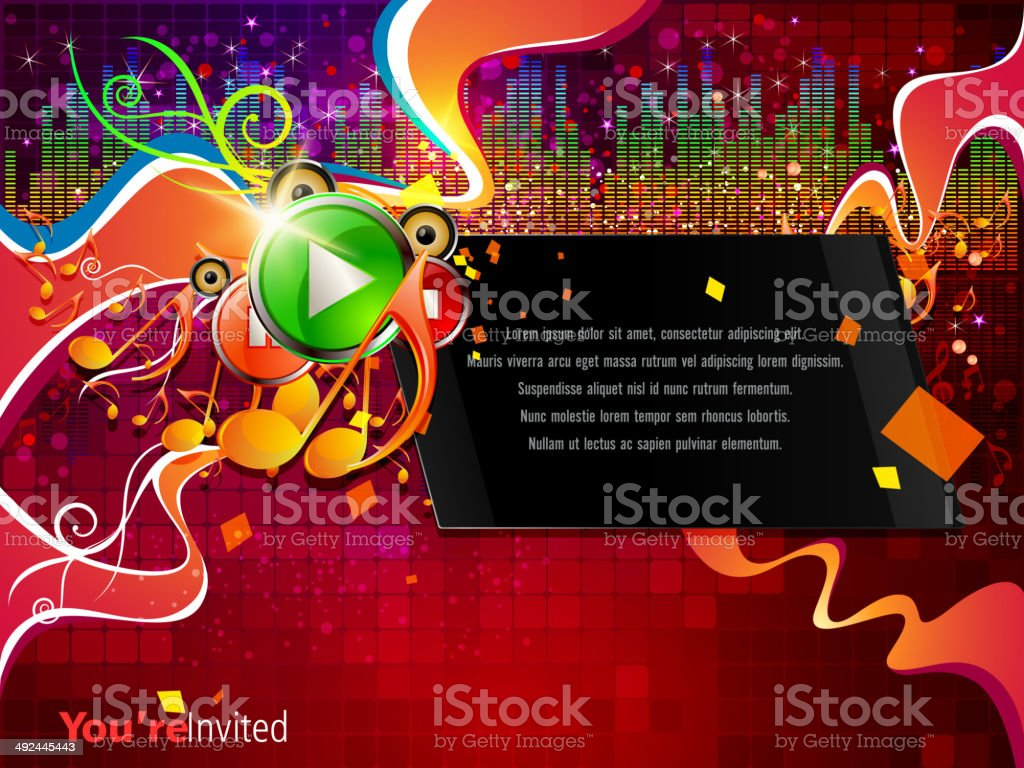 Music Background with Swirls royalty-free stock vector art