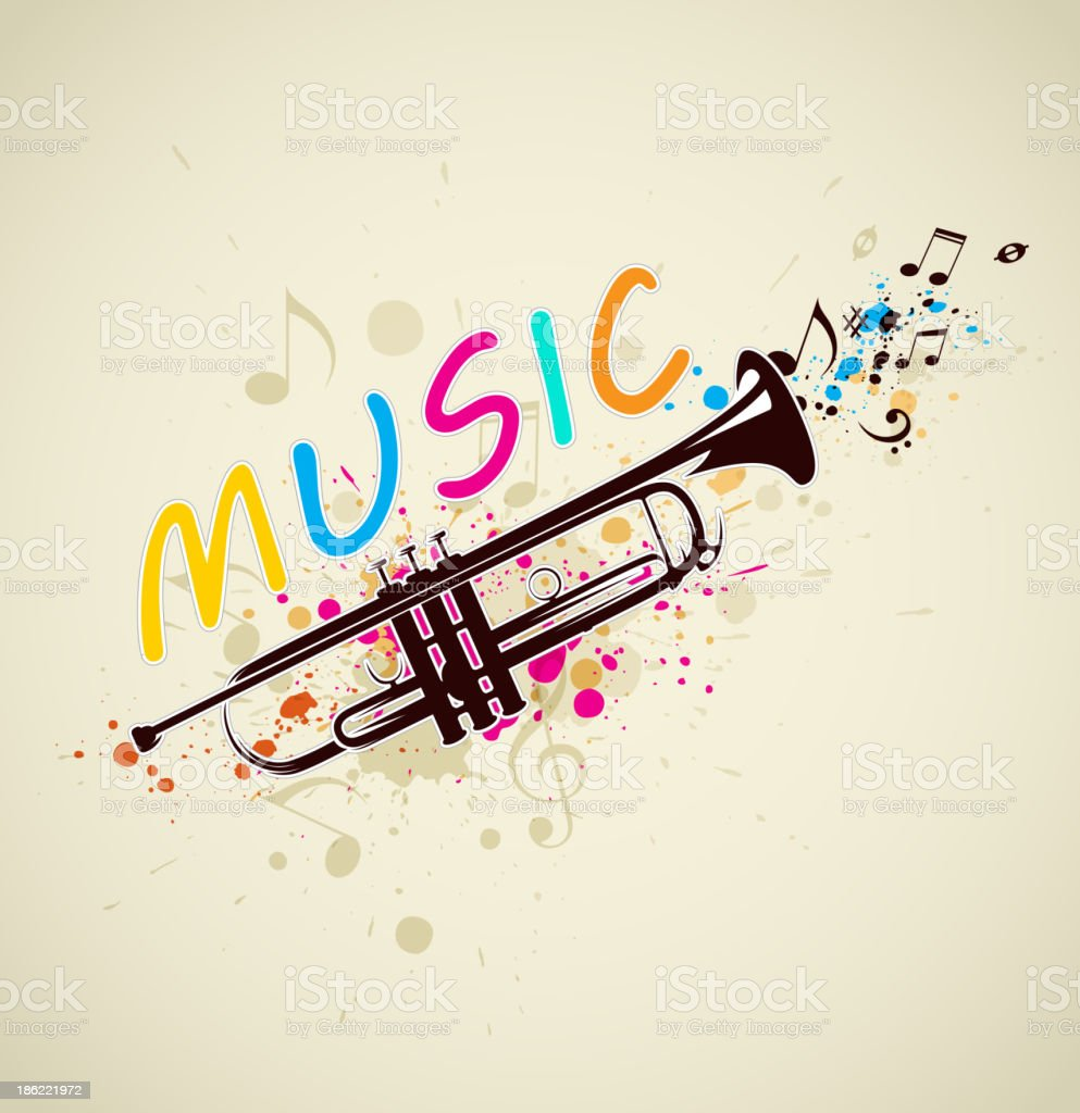 Music background with trumpet royalty-free stock vector art