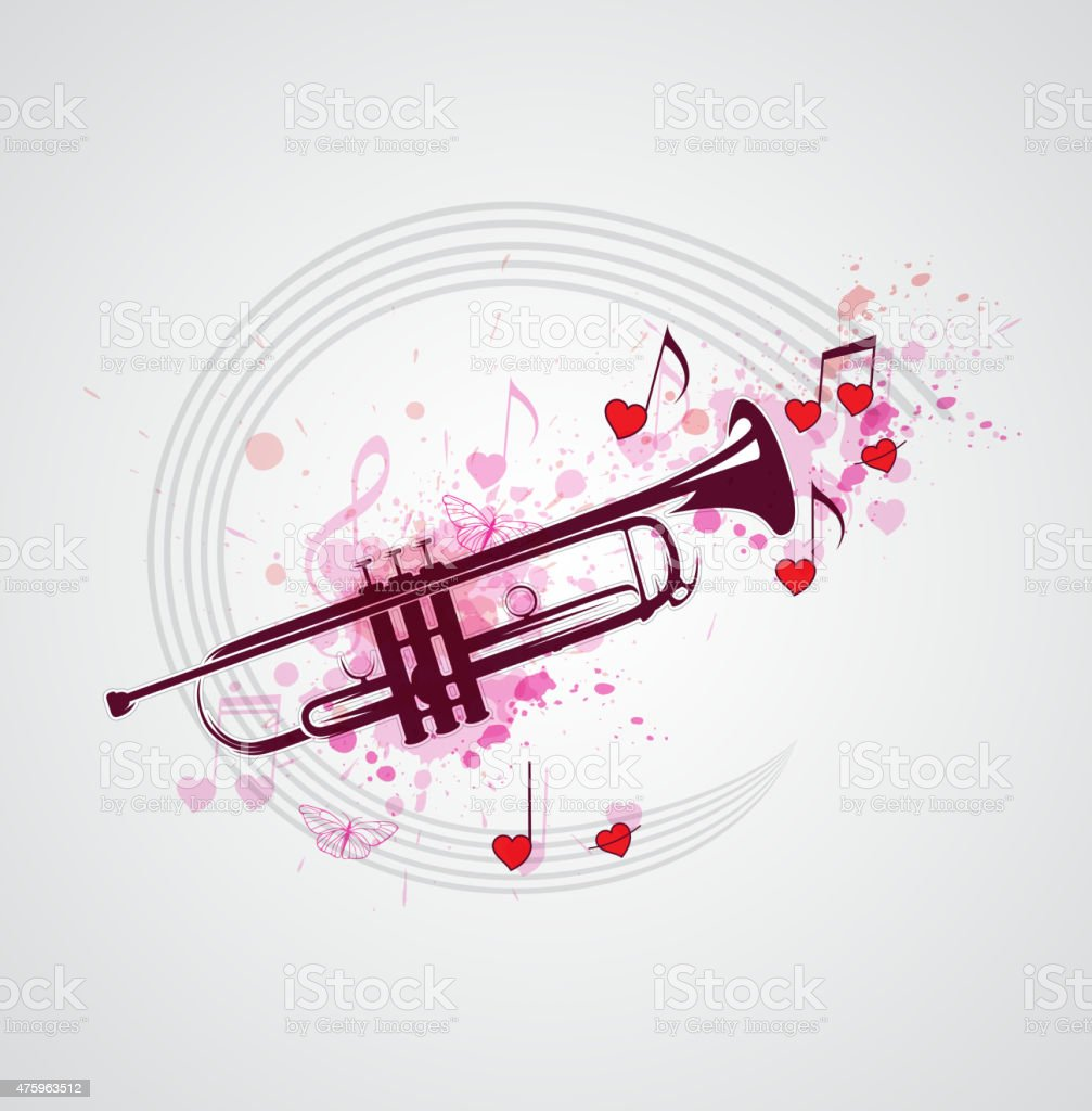 Music background with trumpet vector art illustration