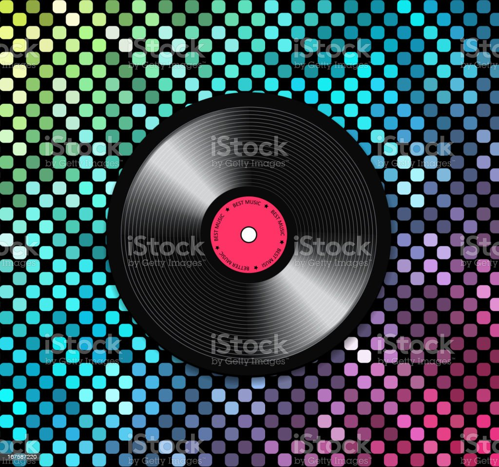 Music background with vinyl record vector art illustration
