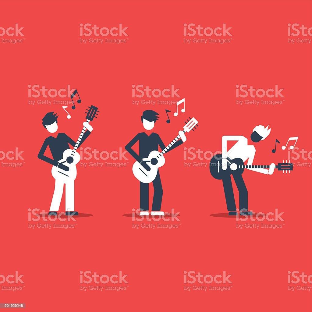 Music band performance. vector art illustration