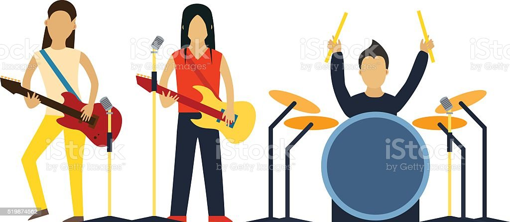 Music band with instruments vector illustration vector art illustration