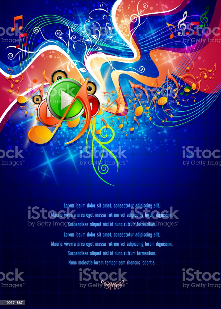 Music Banner with Copy space vector art illustration