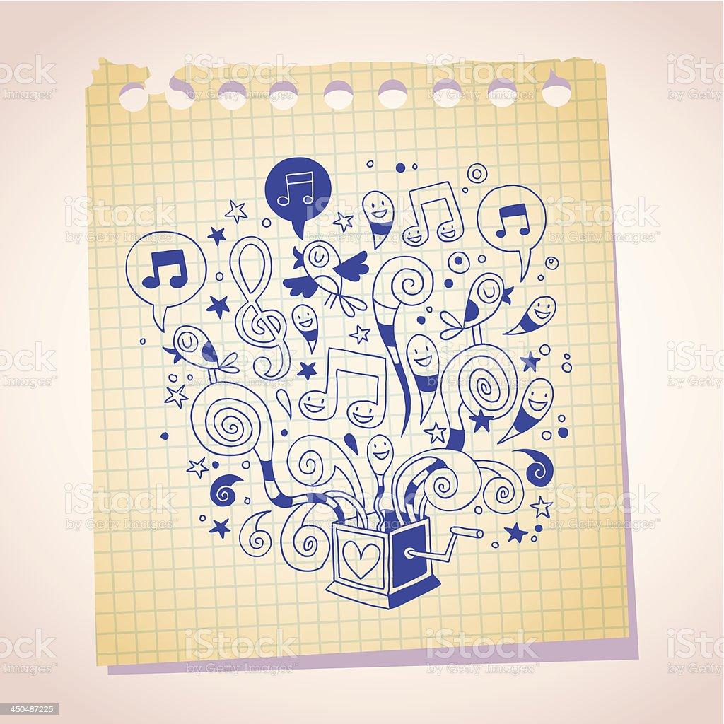 music box note paper cartoon sketch vector art illustration