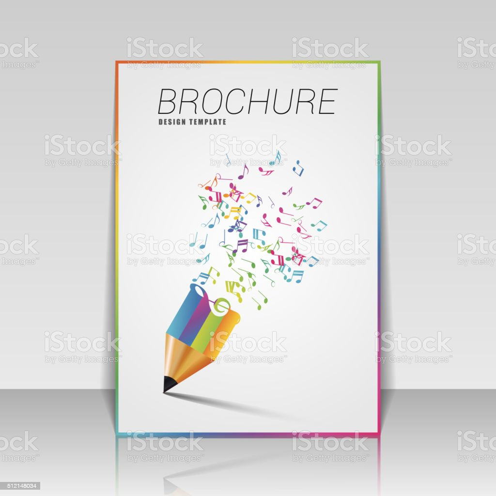 Music brochure template with pencil. Vector illustration vector art illustration