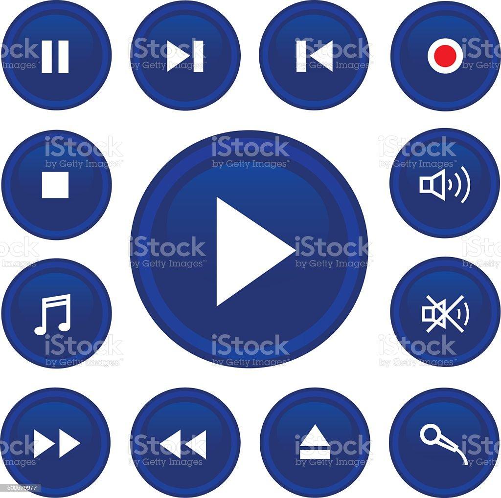 music button icon set vector art illustration