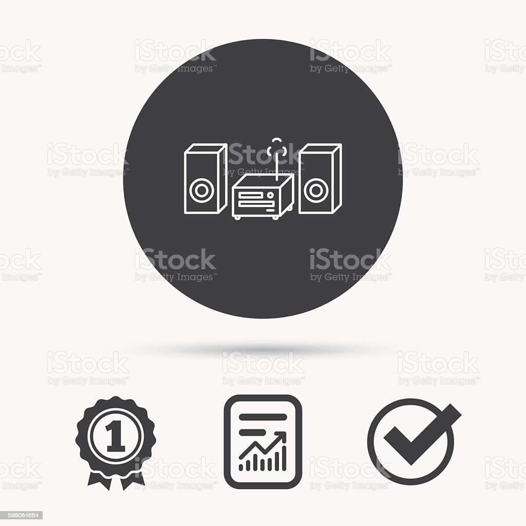Music center icon. Stereo system sign. vector art illustration