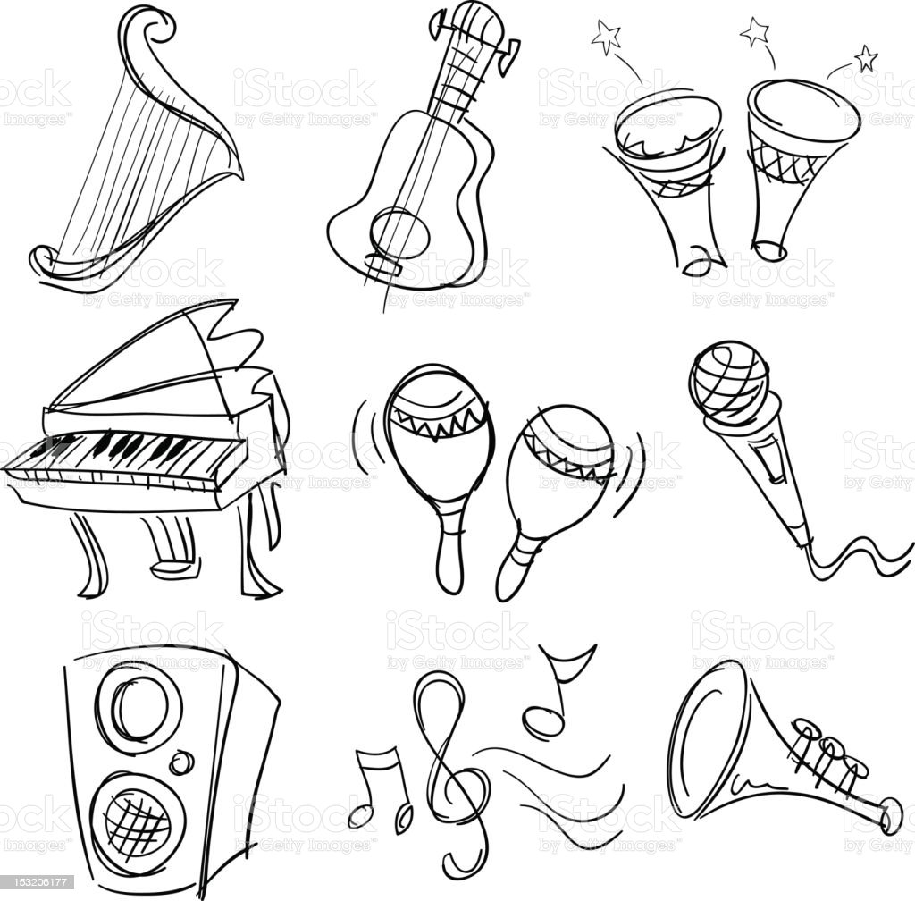 Music collection in Black and White stock photo