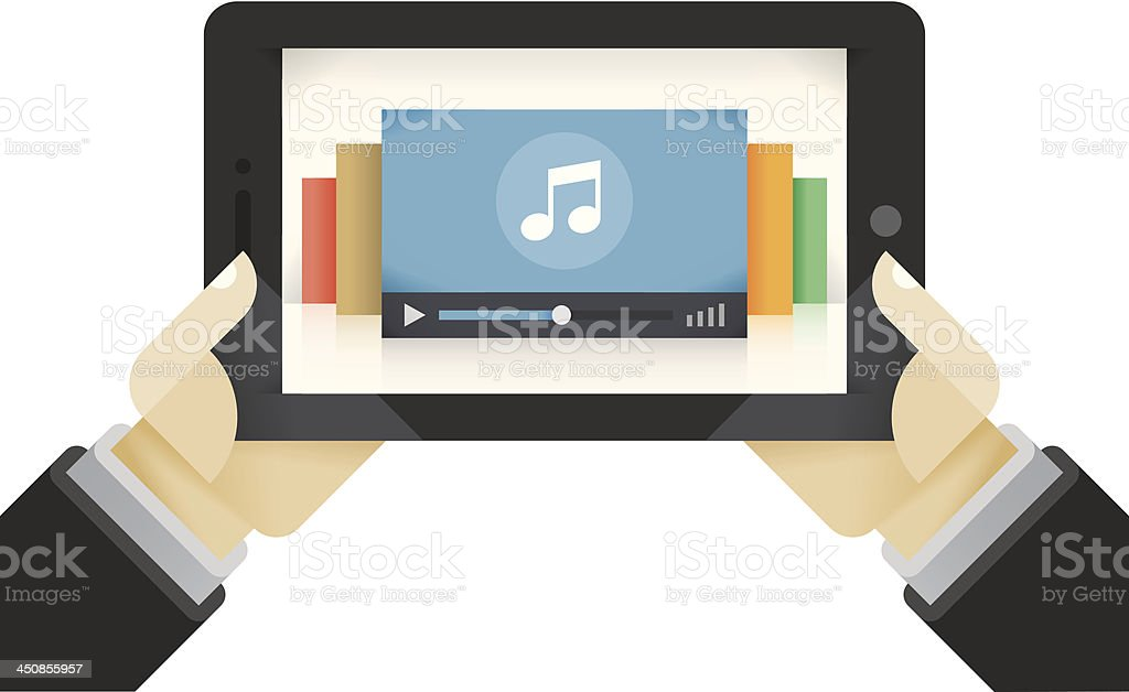 Music collection on the tablet computer royalty-free stock vector art
