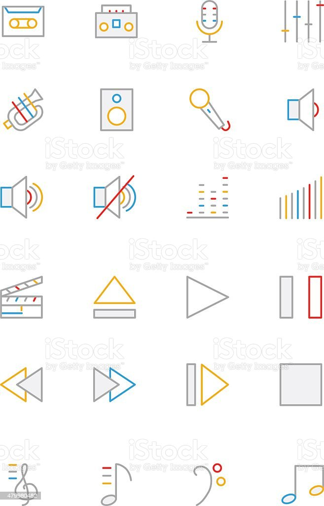Music Colored Line Icons 1 vector art illustration