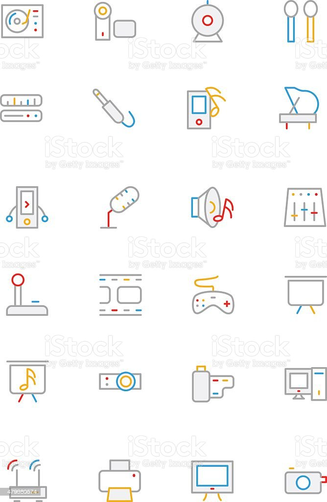 Music Colored Line Icons 4 vector art illustration