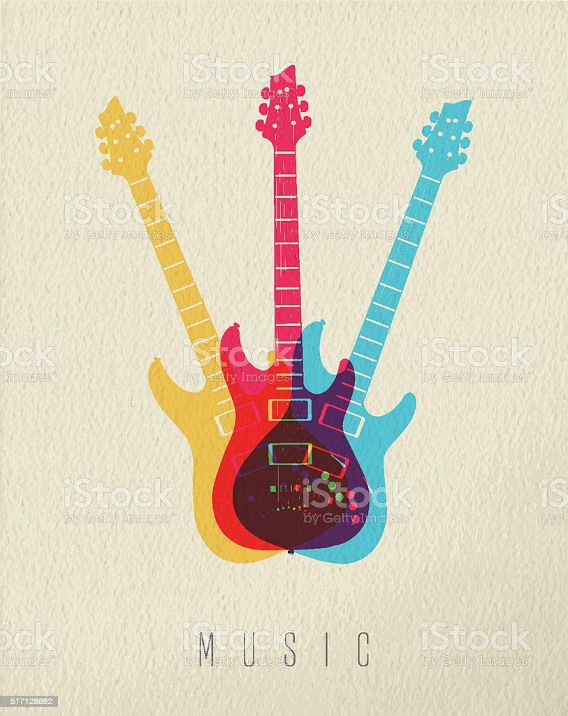 Music concept icon electric guitar color design vector art illustration