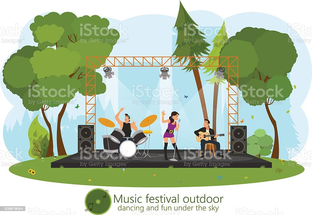 music concert in the park. vector art illustration