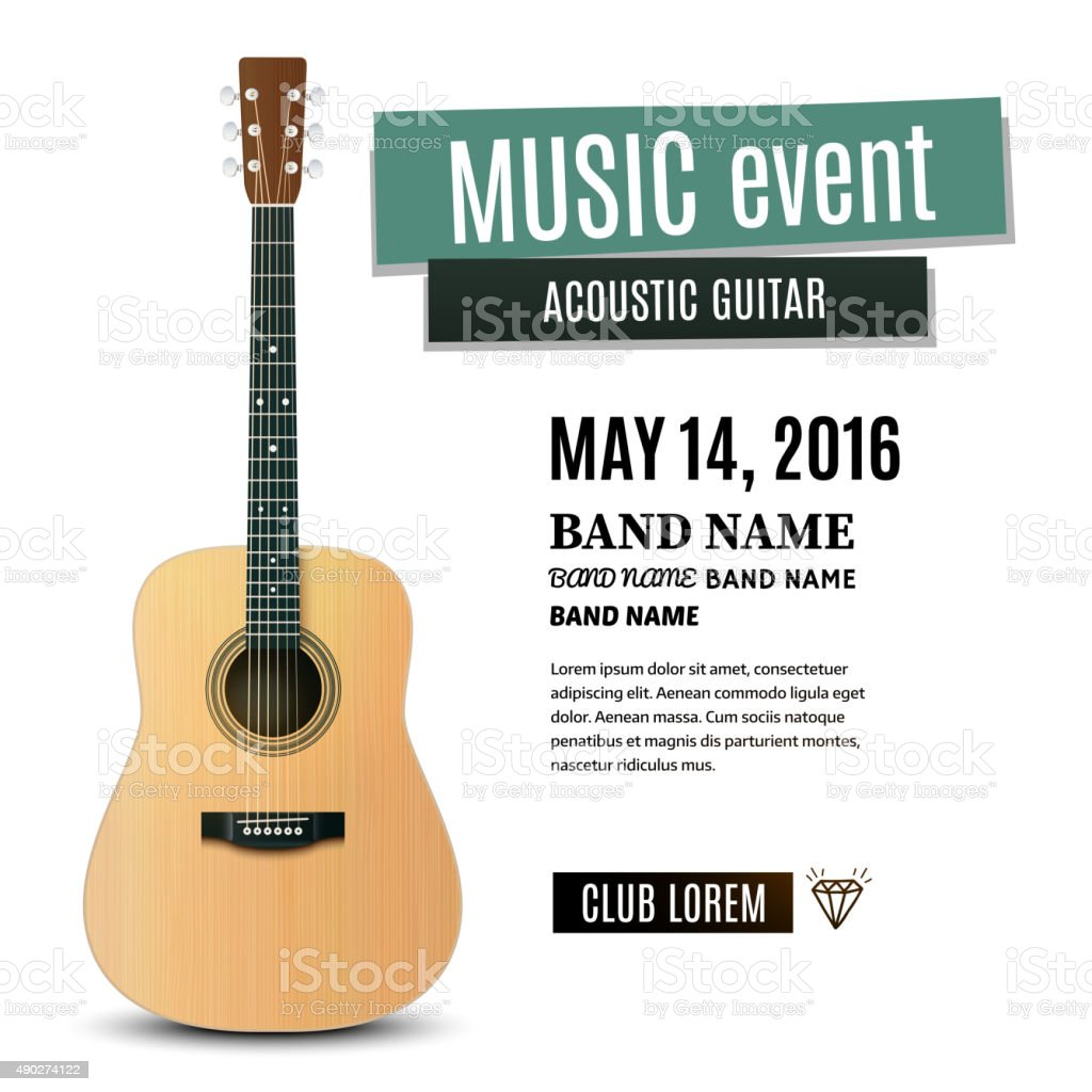 Music concert poster with acoustic guitar. Vector illustration vector art illustration