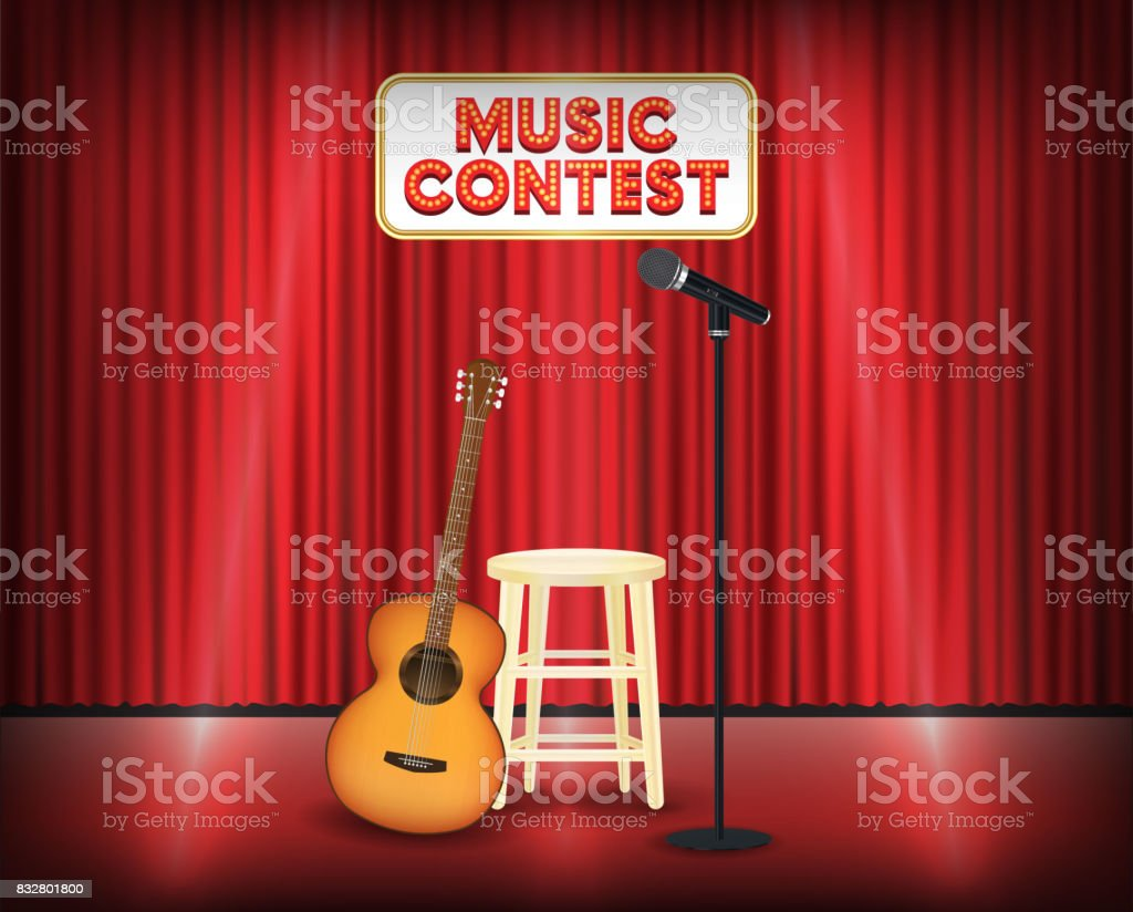 music contest stage with guitar and microphone vector art illustration