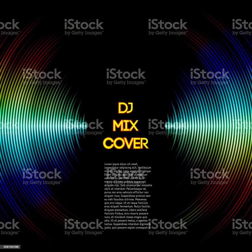 Music cover with waveform as a vinyl grooves vector art illustration