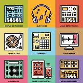 Music Creation Producer Beatmaker Set. Line Design Color Icon Set.