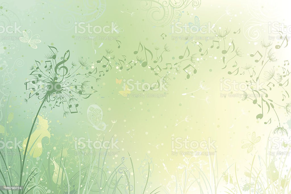 Music dandelion background vector art illustration
