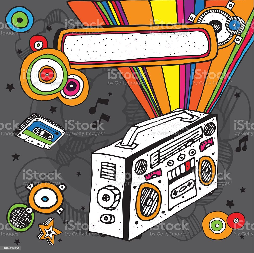 Music doodle Composition vector art illustration