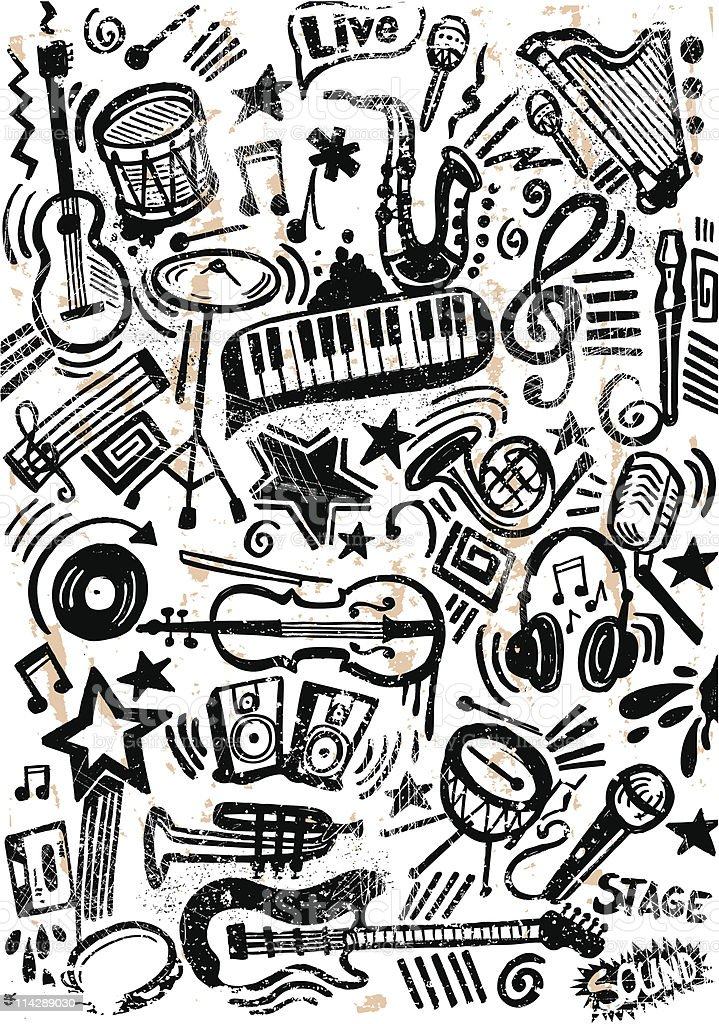 Music doodle grunge royalty-free stock vector art
